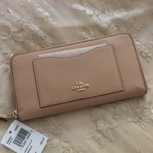 • Coach nude pink accordion zip around wallet •
